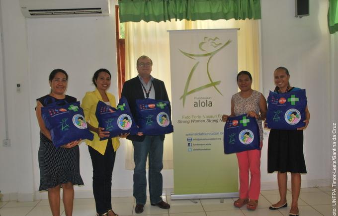 Left to right Dr. Domingas Sarmento (UNFPA-TL), Ms. Alzira Belo (Alola Foundation), Mr. John M. Pile (UNFPA-TL), Mrs. Imaculada Guterres (Alola Foundation), and Ms. Carla da Costa (UNFPA-TL)