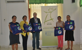 Left to right Dr. Domingas Sarmento (UNFPA-TL), Ms. Alzira Belo (Alola Foundation), Mr. John M. Pile (UNFPA-TL), Mrs. Imaculada Guterres (Alola Foundation), and Ms. Carla da Costa (UNFPA-TL)